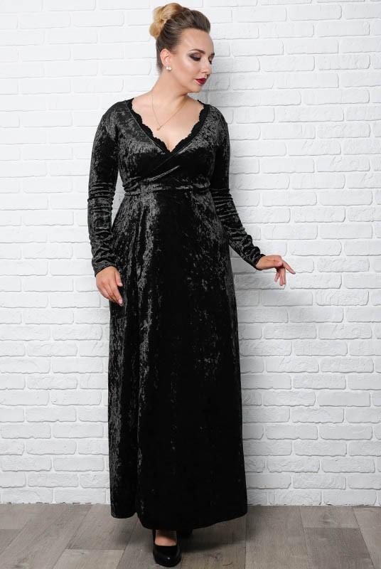 d117ab40c57 Черное вечернее платье Грация батал. Батальные размеры. Оптом
