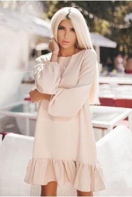 Бежевое платье с рукавом Розалия  - женская одежда, бижутерия оптом. Фото - look-and-buy.com