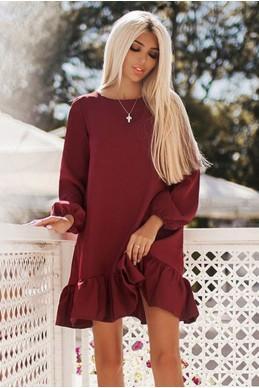 Весеннее женское платье Розалия бордовый - женская одежда, бижутерия оптом. Фото - look-and-buy.com