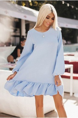 Голубое женское платье Розалия  - женская одежда, бижутерия оптом. Фото - look-and-buy.com