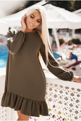 Свободное женское платье Розалия хаки - женская одежда, бижутерия оптом. Фото - look-and-buy.com