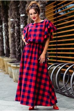 Стильное платье макси Шерлиз красный - женская одежда, бижутерия оптом. Фото - look-and-buy.com