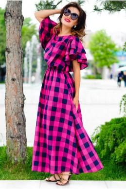Длинное женское платье Шерлиз малиновый - женская одежда, бижутерия оптом. Фото - look-and-buy.com