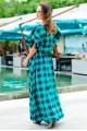 Платье макси в клетку Шерлиз  - женская одежда, бижутерия оптом. Фото - look-and-buy.com