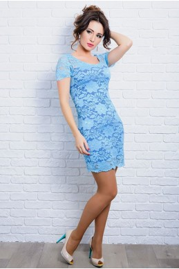 Платье с коротким рукавом Изабелла голубое - женская одежда, бижутерия оптом. Фото - look-and-buy.com