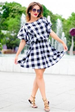 Женское платье в черно-белую клетку  Шарлотта  - женская одежда, бижутерия оптом. Фото - look-and-buy.com