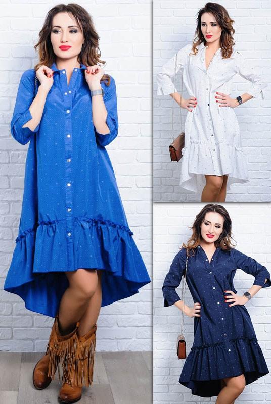 96b65dc22d57044 Купить стильное женские платья-рубашка Флора оптом