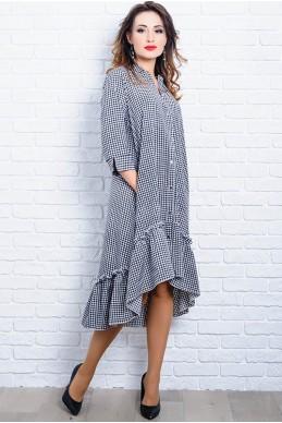 Платье в черно-белую клетку Флора  - женская одежда, бижутерия оптом. Фото - look-and-buy.com