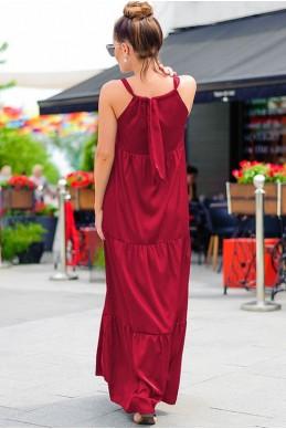 Бордовое платье макси  Кимберли  - женская одежда, бижутерия оптом. Фото - look-and-buy.com