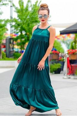 Длинный сарафан на бретели Кимберли изумрудный - женская одежда, бижутерия оптом. Фото - look-and-buy.com