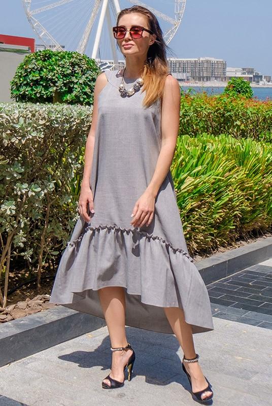 9fcb61eaf70 Длинное летнее платье ГОРТЕНЗИЯ серого цвета