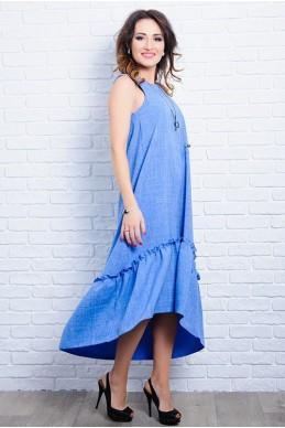 Льняное летнее платье ГОРТЕНЗИЯ голубой - женская одежда, бижутерия оптом. Фото - look-and-buy.com