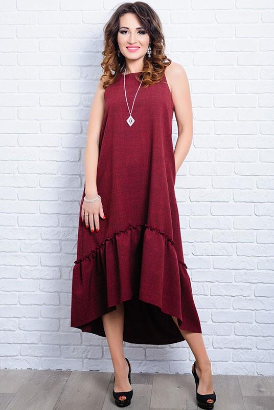 26c16b68aaea9e7 Купить Бордовое летнее платье ГОРТЕНЗИЯ оптом