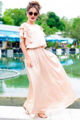 Длинное шелковое платье  Шерлиз бежевый - женская одежда, бижутерия оптом. Фото - look-and-buy.com