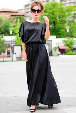 Черное шелковое платье Шерлиз  - женская одежда, бижутерия оптом. Фото - look-and-buy.com