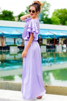 Красивое платье нежно лавандового цвета  Шерлиз  - женская одежда, бижутерия оптом. Фото - look-and-buy.com