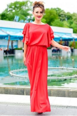 Красное шелковое платье Шерлиз  - женская одежда, бижутерия оптом. Фото - look-and-buy.com
