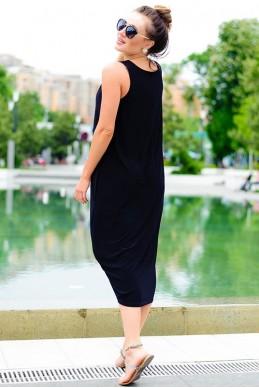 Черное женское платье Ева - женская одежда, бижутерия оптом. Фото - look-and-buy.com
