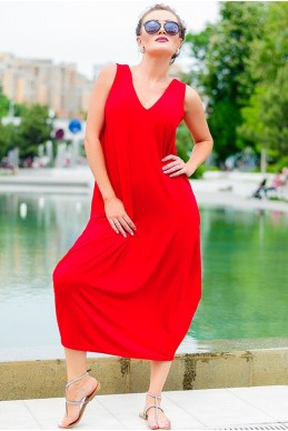 Красное стильное платье Ева - женская одежда, бижутерия оптом. Фото - look-and-buy.com