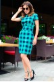 Женское платье в клетку Полина зеленый - женская одежда, бижутерия оптом. Фото - look-and-buy.com