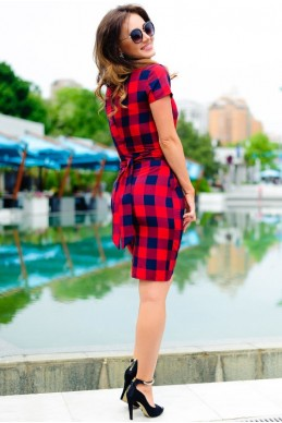 Платье с коротким рукавом Полина красный - женская одежда, бижутерия оптом. Фото - look-and-buy.com