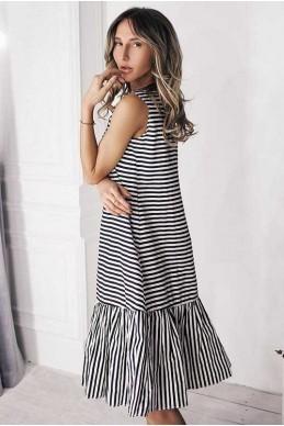 Платье в полоску Филиппа черный - женская одежда, бижутерия оптом. Фото - look-and-buy.com