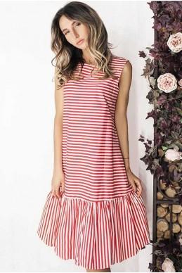 Платье с оборкой Филиппа красный - женская одежда, бижутерия оптом. Фото - look-and-buy.com