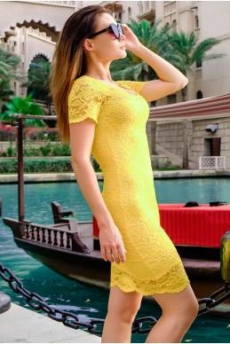 Желтое гипюровое платье Изабелла - женская одежда, бижутерия оптом. Фото - look-and-buy.com