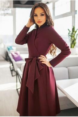 Бордовое платье АВРОРА - женская одежда, бижутерия оптом. Фото - look-and-buy.com