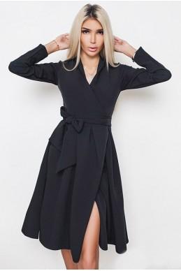 Черное платье по колено АВРОРА - женская одежда, бижутерия оптом. Фото - look-and-buy.com