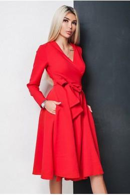 Красное платье-халат АВРОРА - женская одежда, бижутерия оптом. Фото - look-and-buy.com