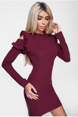 Бордовое платье ГРЕЙС  - женская одежда, бижутерия оптом. Фото - look-and-buy.com