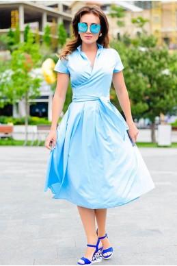Голубое летнее платье Бритни - женская одежда, бижутерия оптом. Фото - look-and-buy.com