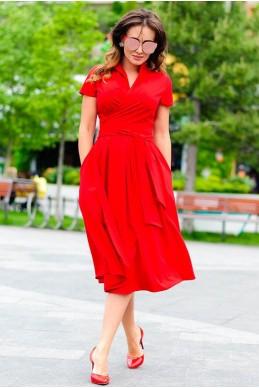 Красное летнее платье Бритни  - женская одежда, бижутерия оптом. Фото - look-and-buy.com