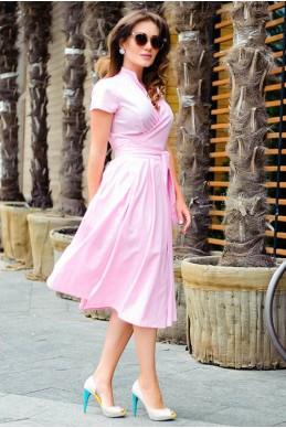 Розовое летнее платье Бритни - женская одежда, бижутерия оптом. Фото - look-and-buy.com