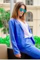 Женский льняной пиджак Миканос голубой - женская одежда, бижутерия оптом. Фото - look-and-buy.com