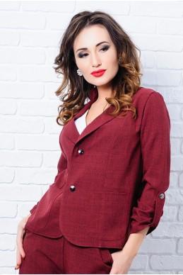 Бордовый женский пиджак Миканос  - женская одежда, бижутерия оптом. Фото - look-and-buy.com