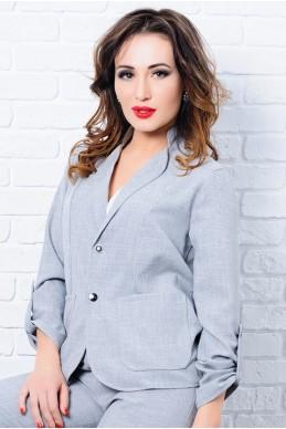 Стильный женский пиджак Миканос серый - женская одежда, бижутерия оптом. Фото - look-and-buy.com