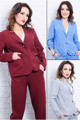 Стильный льняной пиджак Миканос - женская одежда, бижутерия оптом. Фото - look-and-buy.com