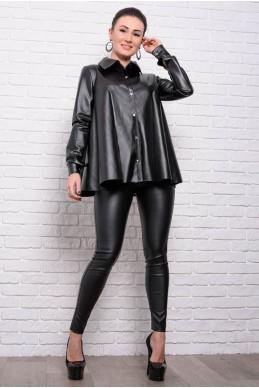 5c7b0a1c9bec Черная кожаная рубашка Джесика - женская одежда, бижутерия оптом. Фото -  look-and
