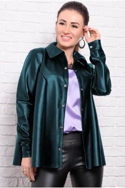 90fcfe22 Рубашка с длинным рукавом Джесика, изумрудная - женская одежда, бижутерия  оптом. Фото -