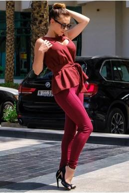 Бордовые Джеггинсы-леггинсы  Лесли  - женская одежда, бижутерия оптом. Фото - look-and-buy.com