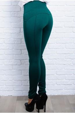 Джеггинсы-леггинсы  пуш-ап Лесли изумрудный - женская одежда, бижутерия оптом. Фото - look-and-buy.com