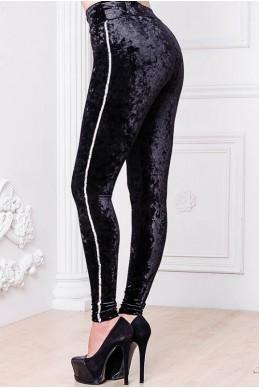 Черные велюровые лосины с пайетками - женская одежда, бижутерия оптом. Фото - look-and-buy.com