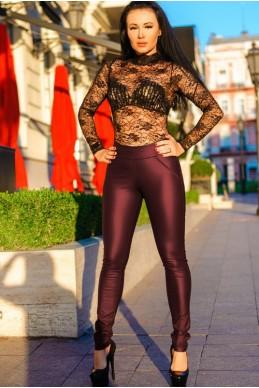 """Кожаные брюки в обтяжку """"Slim"""", бордовые - женская одежда, бижутерия оптом. Фото - look-and-buy.com"""
