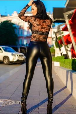 """Кожаные лосины """"Slim"""" черные - женская одежда, бижутерия оптом. Фото - look-and-buy.com"""