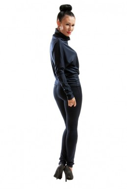 Трикотажный костюм темно-синий - женская одежда, бижутерия оптом. Фото - look-and-buy.com