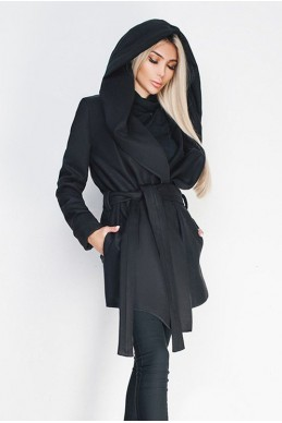 Черное короткое пальто Лагерта - женская одежда, бижутерия оптом. Фото - look-and-buy.com