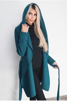 Кашемировое женское пальто Лагерта изумруд - женская одежда, бижутерия оптом. Фото - look-and-buy.com