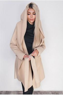 Женское пальто с капюшоном Лагерта молочное - женская одежда, бижутерия оптом. Фото - look-and-buy.com